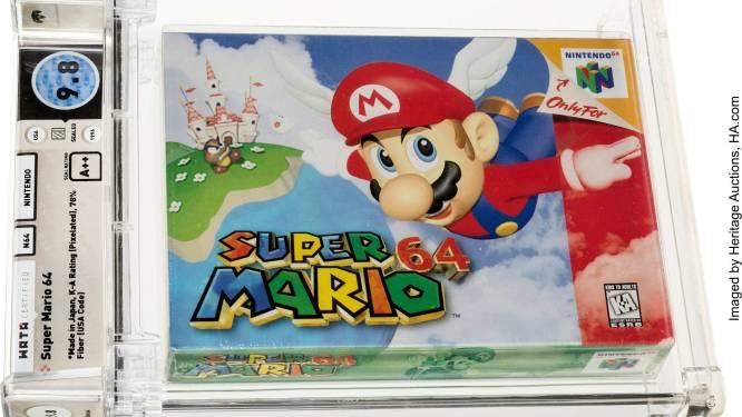 Recordbedrag voor oude spelcassette Super Mario 64 op veiling