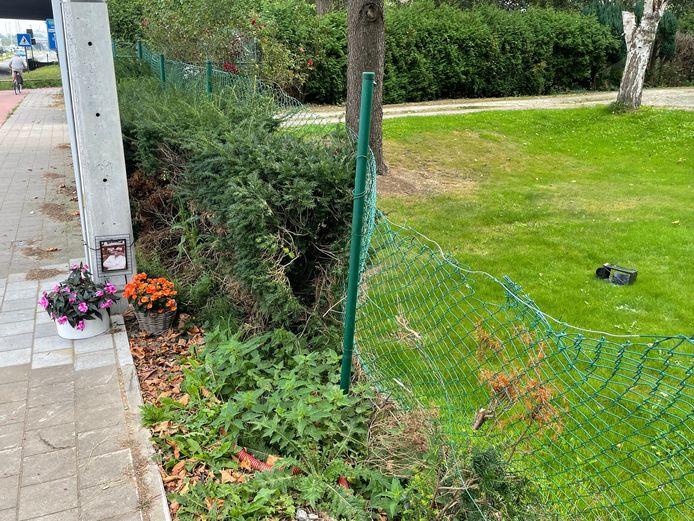 Het herdenkingsplekje voor Gregory Huyghe. Op het gras de vernield lantaarn. De bloemetjes staan ondertussen weer op hun plaats.