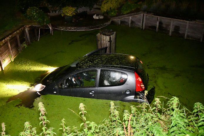 De lichten van de in het watergeraakte auto bleven gewoon aan staan, waardoor ze treurig het kroos in schenen,