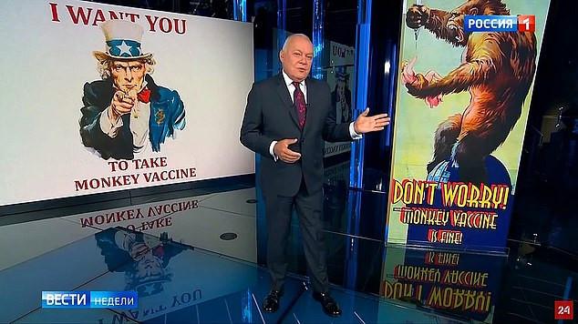 Ook op de Russische televisie werd aandacht aan het 'apenvaccin' besteed.