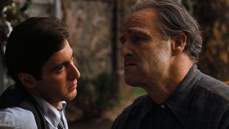 Al Pacino en Marlon Brando in 'The Godfather' van Francis Ford Coppola. Beeld