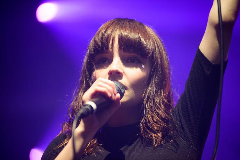 Lauren Mayberry van CHVRCHES in de Brusselse AB, 2015. Beeld Alex Vanhee