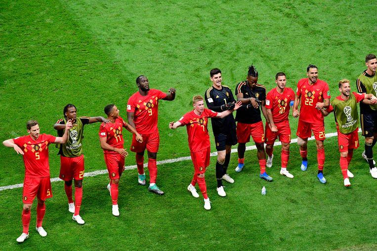 Belgische euforie na de zege tegen Brazilië. Beeld Photo News