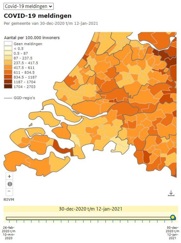 Met 230 besmettingen tussen 30 december en 12 januari is Reimerswaal momenteel de gemeente met relatief gezien verreweg de meeste besmettingen in Zeeland.