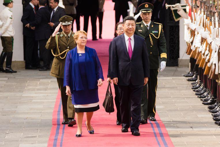 Bachelet en Xi in 2016 in Chili, waar Bachelet destijds president was. Beeld Getty