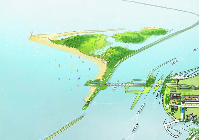 Een nieuw schiereiland moet Lelystad stranden geven - en vakantiehuisjes in de duinen.