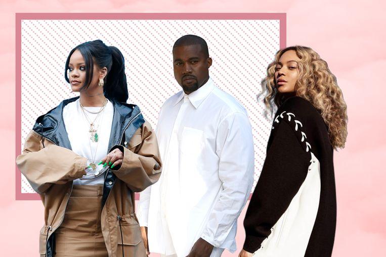 Rihanna, Kanye West en Beyoncé.