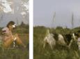 Een jonge Sylvia Parmentier in Kroatië. De foto raakte zwaar beschadigd (links). Met het project 'ReStory' steunt Canon het herstel van de foto (rechts).