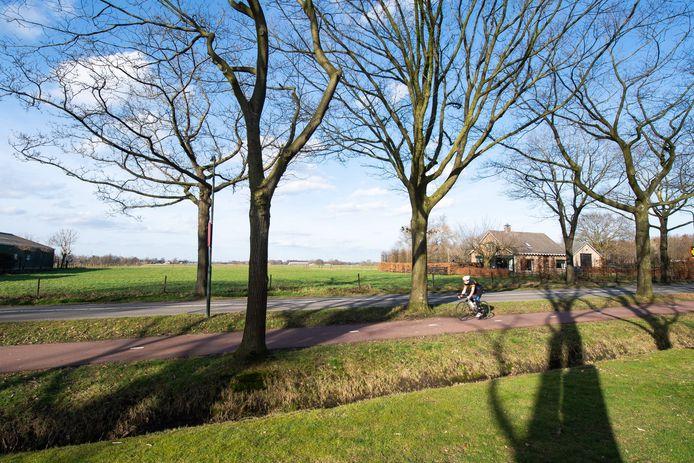 Op de voorgrond de Hoevenseweg en ver daarachter de grasvelden waar de nieuwbouw Hoge Haansberg moet verrijzen.
