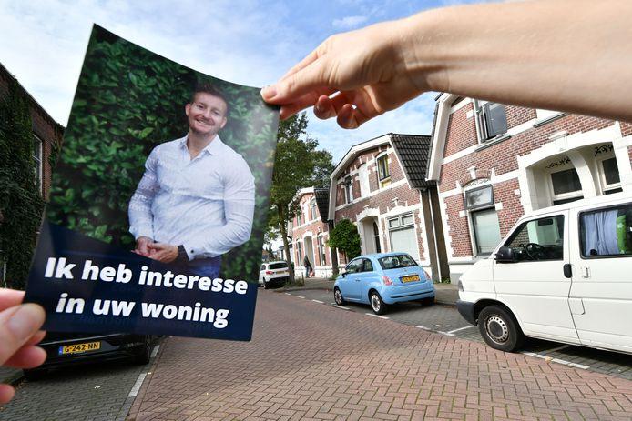 De flyer van Edwin Jacobsen die huizen op wil kopen.