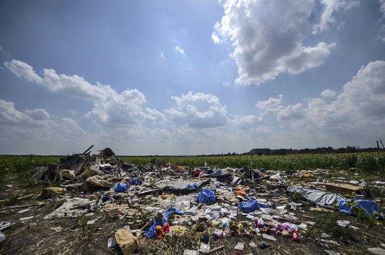 Wrakstukken van het vliegtuig MH17, afgelopen zomer. Beeld AFP