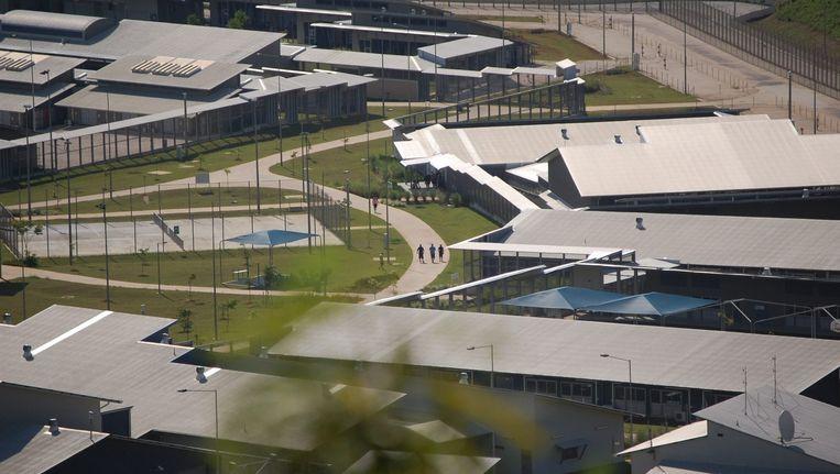 In het detentiekamp op Christmas Island braken rellen uit nadat een ontsnapte vluchteling levenloos gevonden werd aan de rand van het eiland. Beeld epa