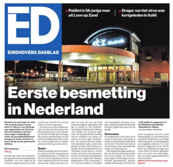 Voorpagina van het ED van 28 februari 2020, de ochtend na de eerste coronabesmetting in Nederland.
