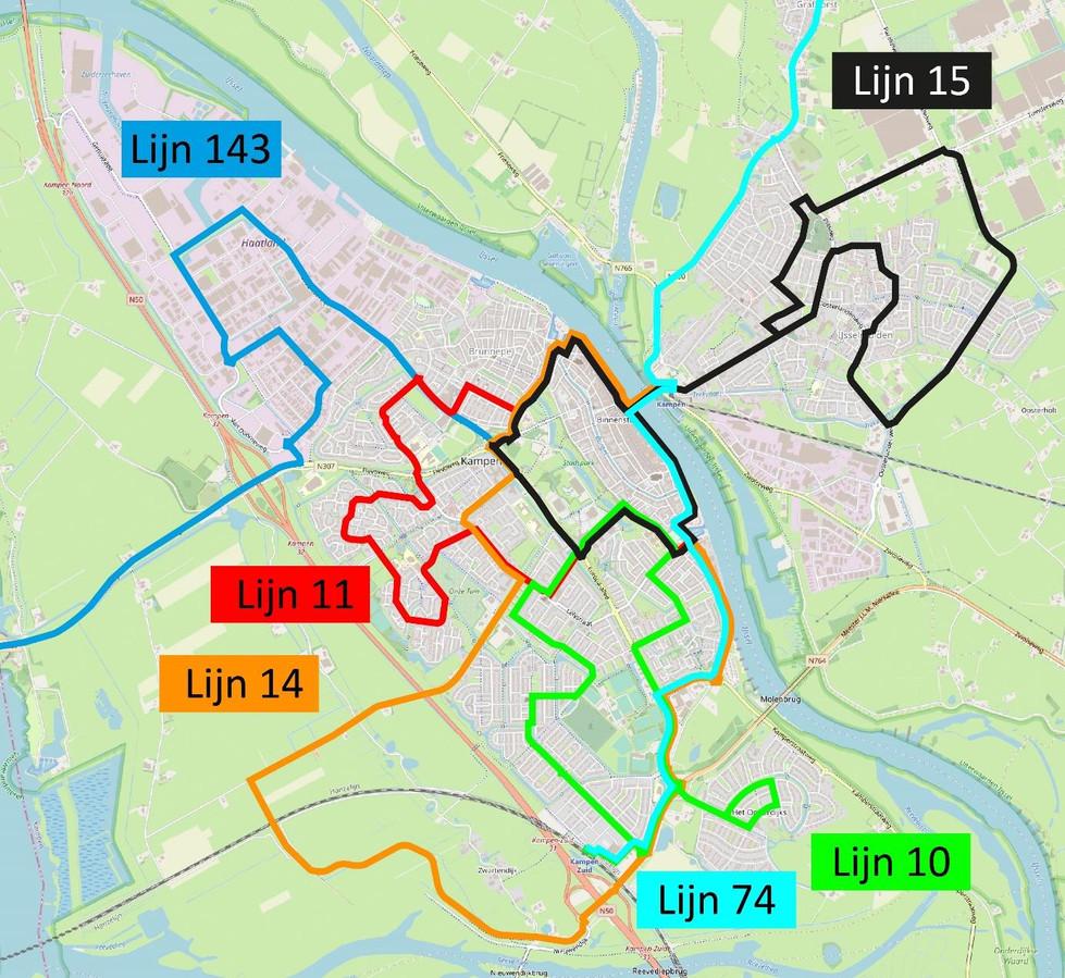 Heel Kampen kan worden bereikt met een combinatie van stads(buurt)bus en aangepaste regionale lijnen.