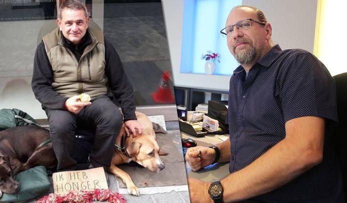 Philip Demanet startte via Facebook een actie op om de dakloze man voor zijn winkel te helpen.