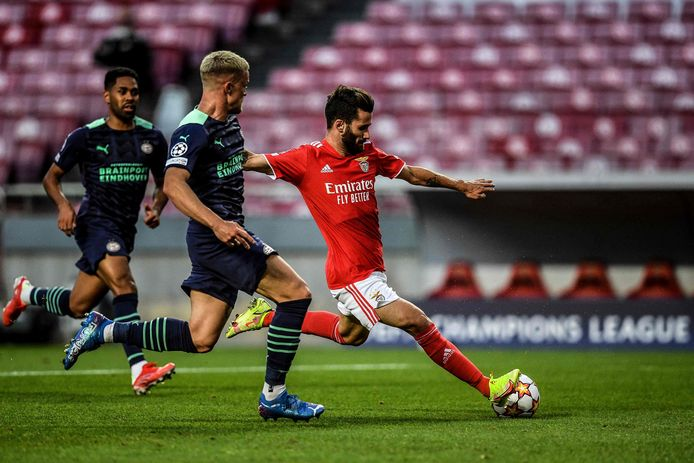 Rafa Silva schiet en scoort: 1-0 voor Benfica.