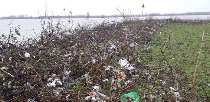 Er is een hoop (plastic) afval achtergebleven in de Biesbosch na het hoge water.
