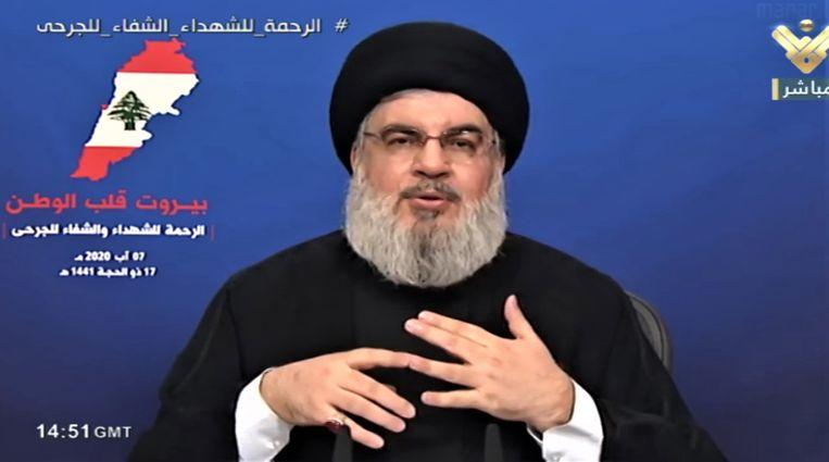 Volgens Hassan Nasrallah, de leider van Hezbollah, had zijn beweging geen wapendepot in de haven van Beiroet.  Beeld EPA