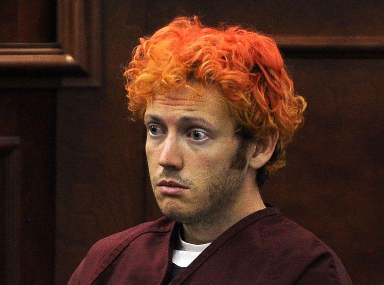 James Holmes, net na zijn arrestatie in juli 2012.  De twitinger schoot twaalf mensen dood in de filmzaal in Aurora (Colorado). Er vielen ook 70 gewonden.