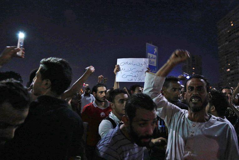 Demonstratie in Caïro op 20 september. Beeld EPA