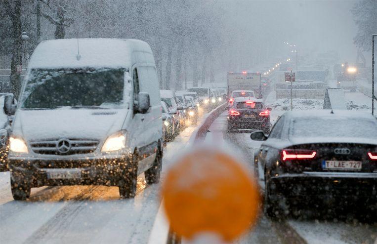 In Brussel viel een dikke laag sneeuw. Beeld Photo News