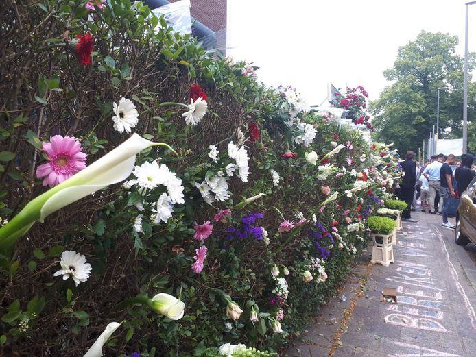 Bloemen in de heg van de moskee.