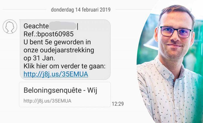 Een voorbeeld van een phishing-sms. Willem Janssens van Telenet Business geeft tips om je niet te laten vangen.