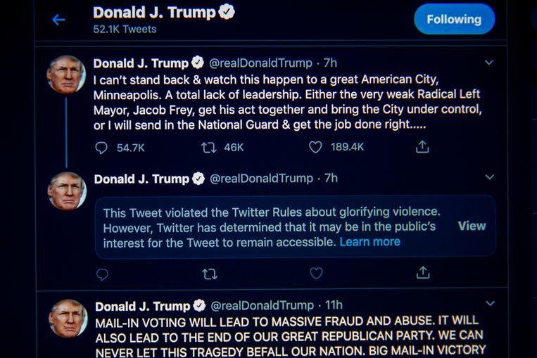 Twitter geeft duiding bij de berichten van president Trump. Beeld EPA