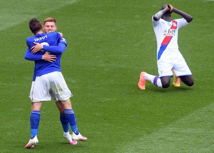 Jamie Vardy viert zijn goal.
