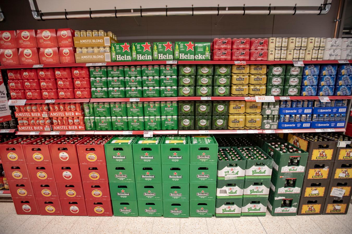 Bier in een supermarkt.