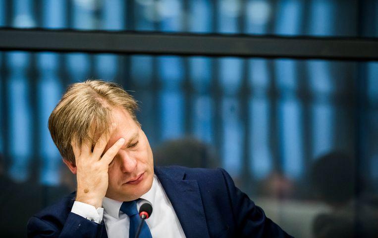 Pieter Omtzigt tijdens een algemeen overleg in de Tweede Kamer over de toeslagenaffaire. Beeld Hollandse Hoogte /  ANP