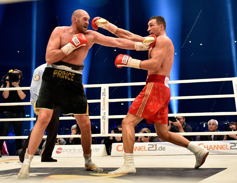 Tyson Fury tegen Wladimir Klitschko in 2015. Beeld ap