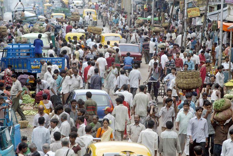 'Gezellig druk' in Delhi. Beeld afp
