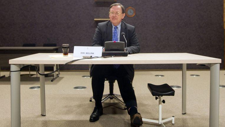 Nout Wellink, oud-president van De Nederlandsche Bank, voor de parlementaire enquêtecommissie De Wit, in januari van dit jaar. Beeld ANP