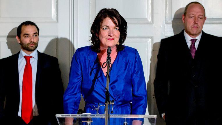 Actrice Malou Gorter speelt politica Birgitte Nyborg in de Nederlandse theaterversie van de populaire Deense tv-serie Borgen. Beeld ANP Kippa