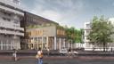 Op de impressie van het vernieuwde stadskantoor zijn de pilaren nog getekend in stippellijn. Nog in te vullen...