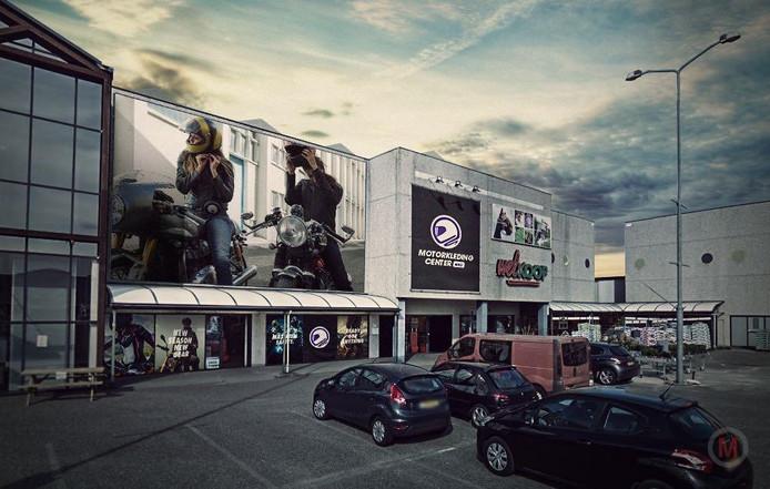 Zo moet de nieuwe motorkledingzaak aan het Polplein in Zutphen er ongeveer komen uit te zien.