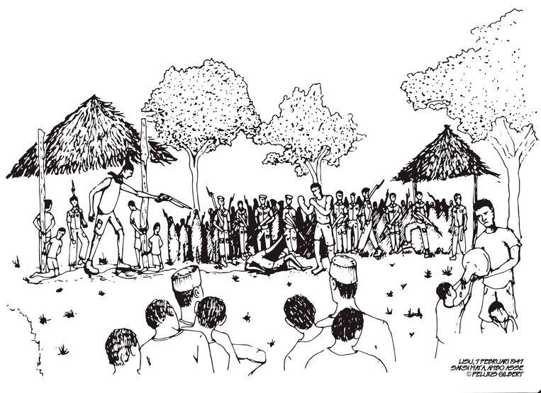 Tekening van een tweegevecht die als bewijsstuk in de rechtszaak is gebruikt. De tekening is gemaakt op basis van een ooggetuigeverslag van wijlen Ambo Asse. Beeld Illustratie Gilbert
