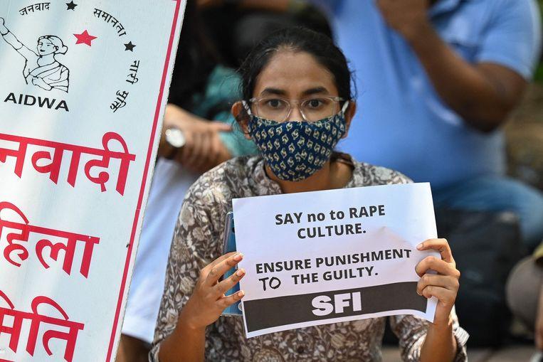 Ook de studentenfederatie van India is sterk vertegenwoordigd op de protesten. Beeld AFP