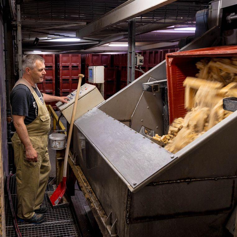 Werknemer bij Nijsen/Granico in Veulen (Limburg) die de toast-resten in de verwerkingsmachine doet. Beeld Ines Vansteenkiste-Muylle