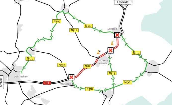 De omleidingsroutes tijdens de werkzaamheden aan de Twenteroute.
