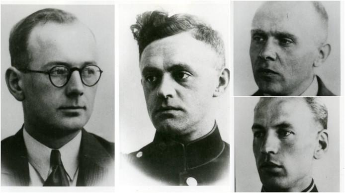 De vier gefusilleerde Nijmeegse politiemannen: Wim Beerman, Herman Oolbekkink, Albert Marcusse en Bart Hendriks.