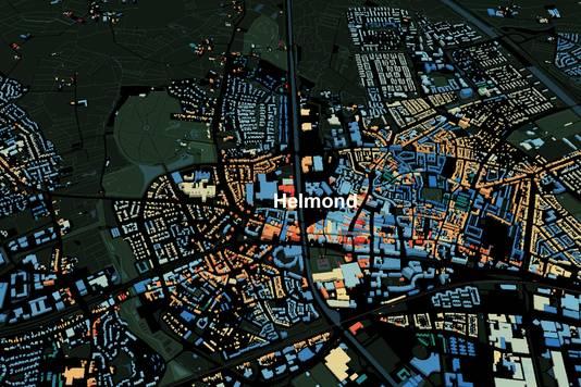 Op de website parallel.co.uk/netherlands/ (hier Helmond) wordt met kleuren aangegeven hoe oud de bebouwing ongeveer is.
