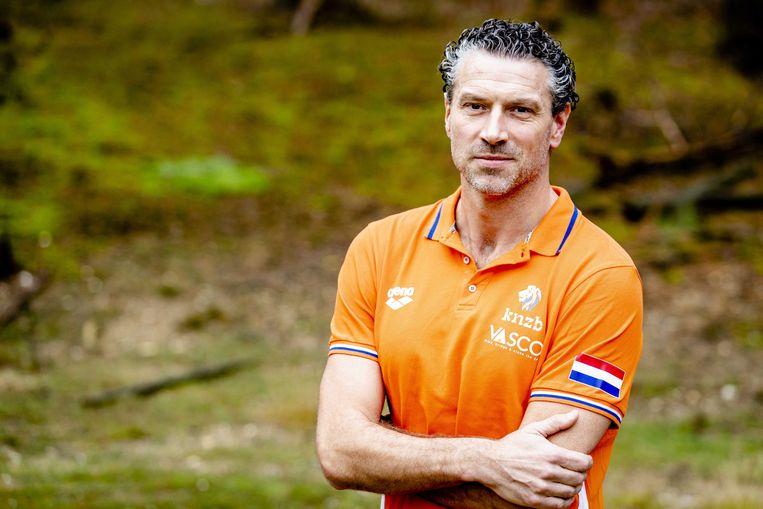 Bondscoach Arno Havenga van het nationale waterpoloteam.  Beeld ANP