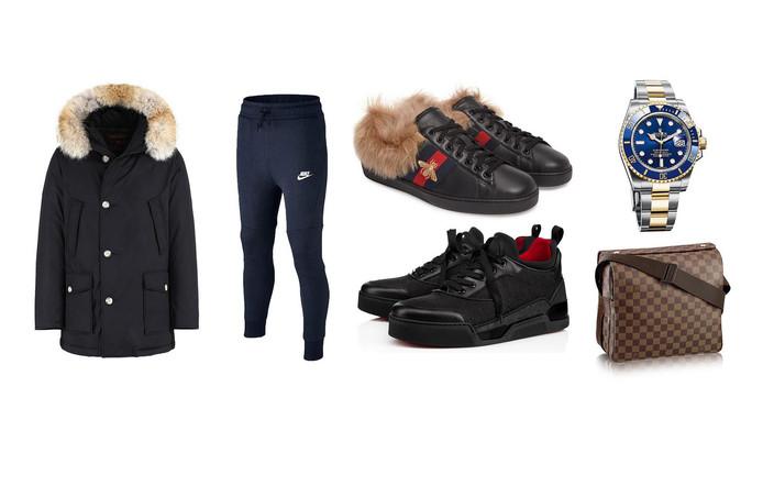 De Woolrichjas (ideaal voor op de scooter), Nike joggingbroek, Guccisneakers met bont (700 euro), Louboutins, Rolex (statussymbool voor alle klassen) en het Louis Vuitton schoudertasje.
