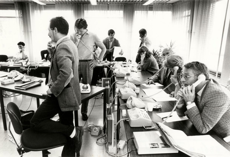 1 mei 1986, Leidschendam. Het landelijke coördinatiecentrum van Marius Enthoven werd platgebeld door Nederlanders die bezorgd waren over radioactieve straling uit de Sovjet-Unie.