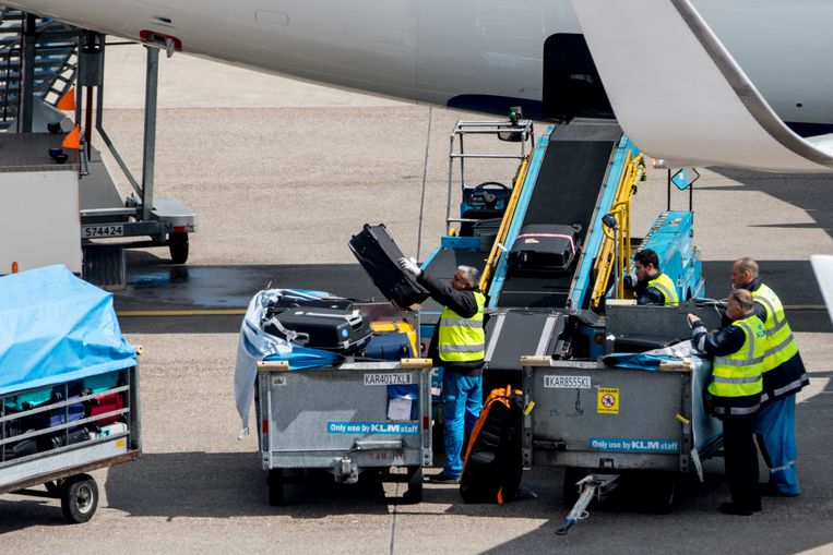 Bagagemedewerkers op Schiphol. Beeld Hollandse Hoogte / Nederlandse Freelancers