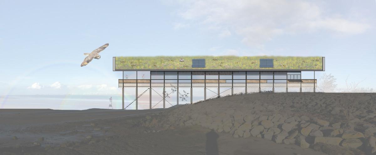 Een impressie van het nieuwe veldstation, dat in het Verdronken Land van Saeftinghe wordt gebouwd.