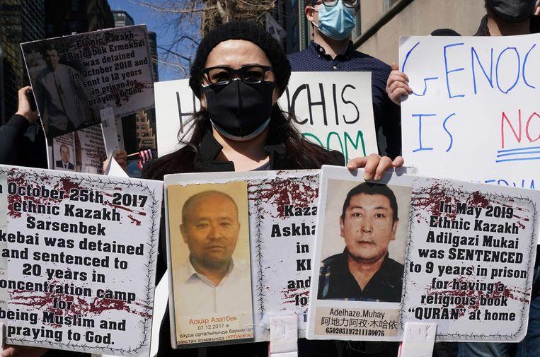 Begin deze week kwamen mensen in New York op straat om te protesteren tegen de Chinese onderdrukking van Oeigoeren. Beeld AFP