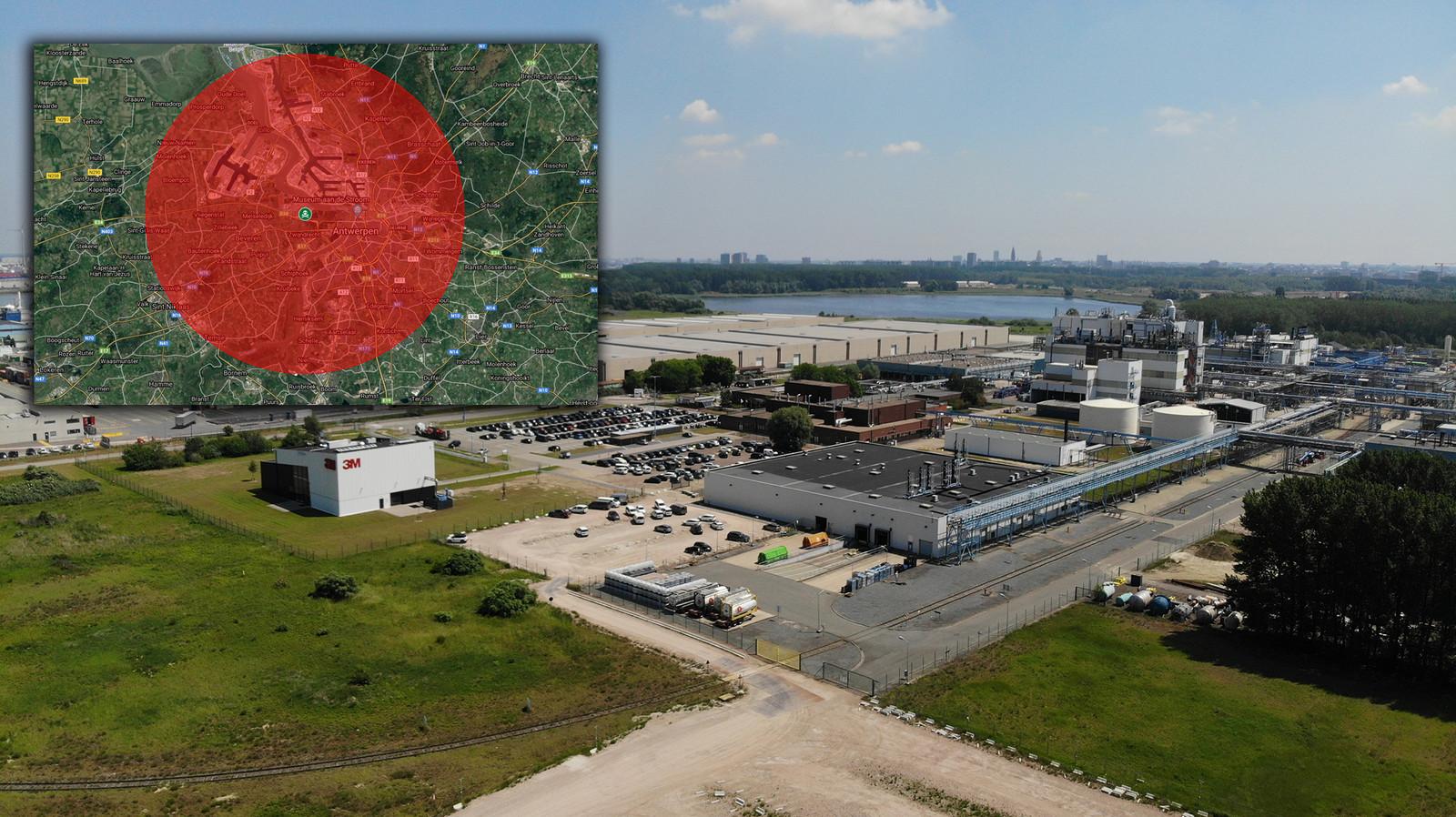 De 3M-site in Zwijndrecht. Linksboven de perimeter rond de fabriek, waar ook de hele stad Antwerpen in valt.